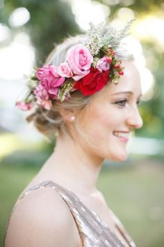 Bridesmaids flower crowns and glitter dress! Pink, purple and green Natte Valleij Stellenbosch Wedding by Adene Photography
