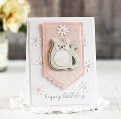Cuddly Cat Birthday Card by Laurie Schmidlin for Papertrey Ink (April 2017)