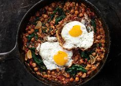 Spinach with Chickpeas and Fried Eggs - Bon Appétit / make with leftover egg whites, onions on stove top