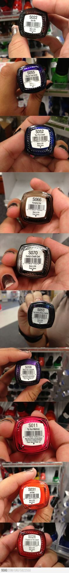 Saw this and thought of you Alicia     Nail polish with some interesting names.