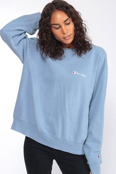edf17dd0 Champion Sweatshirt Crewneck Pullover Sports Jumper 90s Streetwear Shirt  Baby Blue Slouch 1990s Sportswear Pastel Sweater Extra Large XL