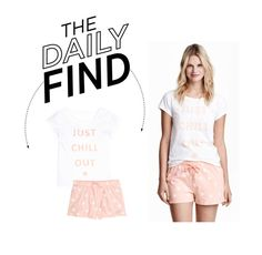 """The Daily Find: H&M Pajama Set"" by polyvore-editorial ❤ liked on Polyvore featuring H&M and DailyFind"