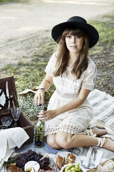 Picnicking with Ecco Domani | Margo and Me. Ivory eyelet dress+ivory espadrille wedges+black hat. Summer outfit 2016