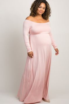 dfaef3192c Pink Off Shoulder Plus Size Maternity Maxi Dress - A solid pink hued, long  sleeve