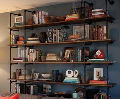 Plumbing pipe bookshelves
