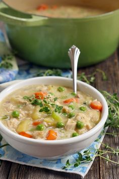 This is the most comforting soup: chicken pot pie served in a bowl!  It's rich, creamy and full of flavor. It's the perfect soup for fall, for rainy days, col