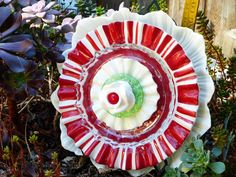 Plate Flower  #600    Drought Resistant.    Garden Yard Art glass and ceramic plate flower