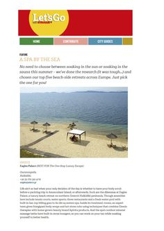 Let's Go with RYANAIR magazine found its one-stop luxury spa escape on the beach of Eagles Palace!