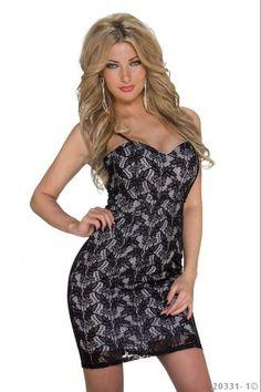 Μίνι φόρεμα με φλοράλ δαντέλα - Μαύρο Κρεμ