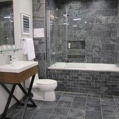 Polished Slate Tiles Contemporary Bathroom Sherwin Williams Passive