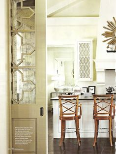 Things We Love:  Pocket Doors. Design Chic blog.  This inspires me to replace my glass in my pantry door with something like this.  Hides everything and still super stylish!
