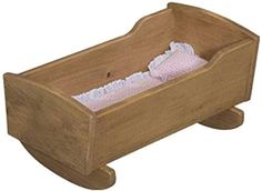 Amish Buggy Toys 18' Doll Wooden Play Furniture Cradle, Harvest