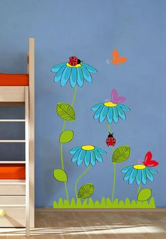 Ladybug Butterfly Flowers Nature Nursery Kids – Full Color Wall Decal Vinyl Decor Art Sticker Remova All of our wall decals are made from high quality vinyl. We guarantee our product and if you are unhappy with the product please contact us to Decoration Creche, Class Decoration, School Decorations, Butterfly Flowers, Flowers Nature, Butterfly Kids, Daisy Flowers, Vinyl Dekor, Natural Nursery