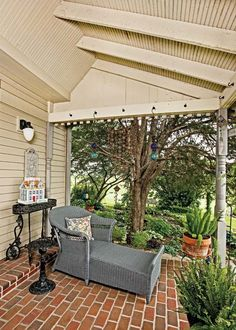 A floor of brick pavers and a ceiling clad in beaded board lend texture to the new side porch. Victorian Porch, Folk Victorian, Victorian Farmhouse, Victorian Homes, Brick Porch, House Journal, Pleasant View, Maids Room, Porch Flooring