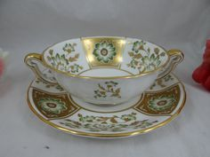 """Vintage Royal Crown Derby English Bone China """"Green Derby Panel"""" Cream Soup Bouillon Soup Bowl with Saucer – 3 Available"""