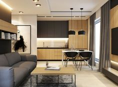 PROJEKT WNĘTRZ - KATOWICE Scandinavian Apartment, Conference Room, Modern, Table, Projects, Furniture, Home Decor, Apartments, Kitchens