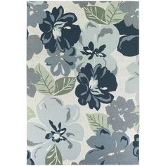 Gray blue floral rug