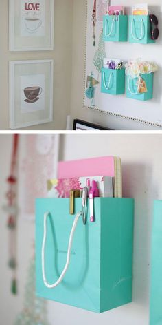 Organize your Bedroom with Shopping Bags   Click Pic for 25 Simple Life Hacks Every Girl Should Know   Household Tips and Tricks for Life