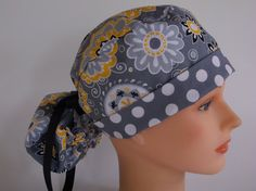 Gold Medallions Ponytail Womens Surgical Scrub Cap by Headlids