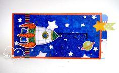 Silvia Scrap: Reto # 43 en Latinas Arts & Crafts. Tarjetas con Stencils Digi: Retro Rocket de Doctor digi.