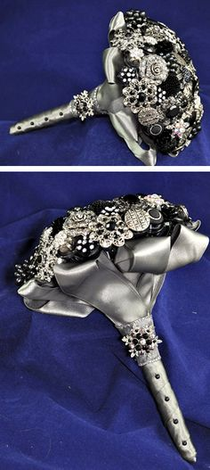 silver & black brooch wedding bouquet. I REALLY like this for some weird reason, I think I like the idea of a bouquet that sparkles and lasts forever