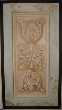 Trompe Loeil Door Murals | trompe l oeil crumbling stone ornament with molding design by michel ...
