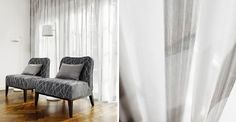 Kobe -  Expression Fabric Collection - White and light grey striped sheer curtains, 2 armchairs covered with light and ash grey patterned fabric, and 2 cushions