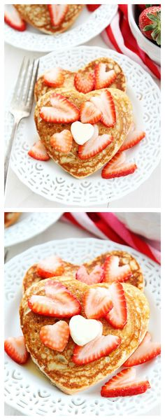Heart Pancakes Recipe on twopeasandtheirpod.com A fun and easy pancake recipe that is perfect for Valentine's Day!