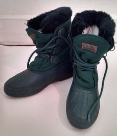 Vtg Sorel Snowboots Womens 10 Green Duck Boots Made in Canada Superficial Flaw #Sorel #Duckboots #Casual