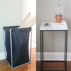 "Ikea hamper turned ""marble top"" table/ DIY / Ikea Hack"