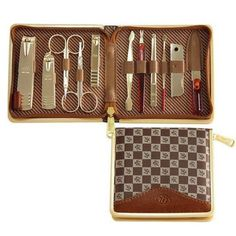 11pc Deluxe Manicure Set, Pedicure Set, Leather Case, Travel & Grooming Set by 777. $29.29. Include 11 pcs of useful tools. Tools include large nail clipper; small nail clipper; inclined nail clipper; eyebrow scissors; Vibr. Compact and easily portable ; ideal for travel ;perfect gift. Model: KMRX - EM10239Case Dimensions: 4.84*4.41*1.02 inchesCase Color: Brown and GoldenPacking: The original package factory paper boxPackage: 11 pcs/ caseFeatures: *Include 11 pcs of use...