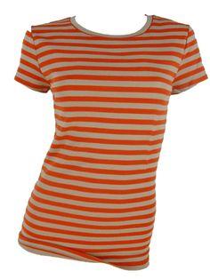 Ann Taylor Short Sleeve Top Petite XSP Shirt Tshirt Orange Striped Tee NEW #AnnTaylor #KnitTop #Casual
