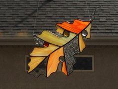 Stained Glass Autumn/Fall Oak Leaf Suncatcher by FoxStainedGlass