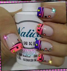 Nails in the French style - - Get Nails, Love Nails, Pretty Nails, Crazy Nails, Funky Nails, Fingernail Designs, Nail Art Designs, French Nails, Nagel Hacks