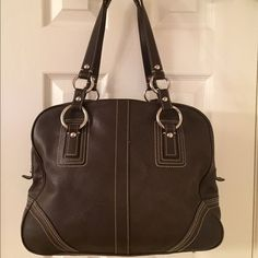 Selling this  Coach F10581 Brown Leather Large Shoulder Bag in my Poshmark closet! My username is: saccardi. #shopmycloset #poshmark #fashion #shopping #style #forsale #Coach #Handbags