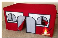 Forget the great outdoors with this indoor camping playhouse. 75 Insanely Clever DIYs Every Parent Will Wish They Knew About Sooner Kids Indoor Playhouse, Diy Playhouse, Kids Yard, Book Pillow, Indoor Camping, Kids Tents, Raffle Baskets, Baby Sewing Projects, Camping With Kids