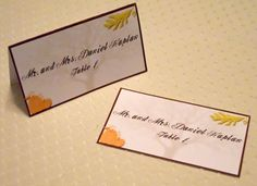 Autumn Fall Themed Wedding Place Cards by StoriadAmoreDesigns, $0.95