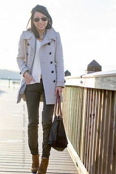wool trench coat, gray open cardigan, olive pants, brown suede ankle boots by brightenday, via Flickr