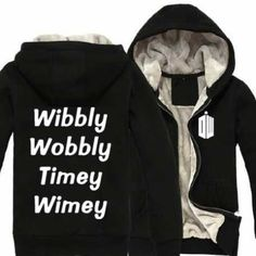 Doctor who zip up hoodie with thick fleece clothing for men Fleece Hoodie, Hooded Sweatshirts, Hoodies, Black Zip Ups, Doctor Who, Plus Size Outfits, Black And Grey, Rain Jacket, Windbreaker