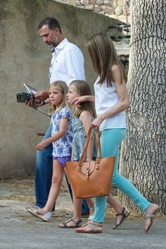 "Prince Felipe of Spain, Princess Letizia of Spain and their daugthers Princess Leonor of Spain (R) and Princess Sofia of Spain (L) visit ""La Granja"" (Big Historical Mansion) on August 5, 2013 in Esporles, Palma de Mallorca, Spain."