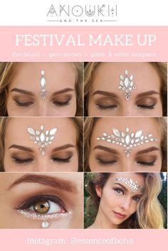 Beautiful & Simple Glitter Gemstone Festival Makeup! More at @essenceofboho.