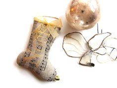 "4"" Little Linen Noel Ornament, Gold Letters, Musical Notes, Gold Bow, Jingle Bell"