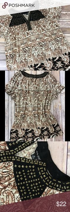 """Lucky Brand Top Lucky Brand top with bronze embellishment.  100% Cotton and very very soft.  Excellent used condition.  Worn twice.  The size is mislabeled. It says XL but fits like medium to large.  Measurements: Pit to pit approx 18"""" and length approx 22"""". Lucky Brand Tops Blouses"""