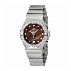 Omega Constellation Automatic Ladies Watch 123.15.27.20.56.001. Stainless steel case with a stainless steel bracelet. Fixed stainless steel diamond-set bezel. Grey lacquered dial with luminous grey hands and diamond hour markers. Dial Type: Analog. Luminescent hands. Date display at the 6 o'clock position. Omega calibre 8520 automatic movement with a 50-hour power reserve. Scratch resistant sapphire crystal. Screw down crown. Transparent case back. Case size: 27 mm. Case thickness: 9 mm....