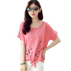 e337f1425c New summer fashion printed t-shirt Casual loose o neck short sleeve t shirt  women