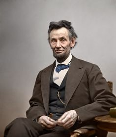 Brilliant colorized photo of Abraham Lincoln done in Photoshop. How cool! I love him. Greatest President of all time. :)