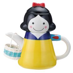 {Snow White Tea For One Set} teapot, teacup + strainer, with the bonus of a cute little basket. adorable!