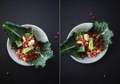 walnut tacos with avocado cream - all raw ingredients, and such a pretty presentation!