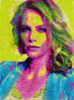 Buy Always beautiful, a Paint on Canvas by John Lijo Bluefish from India. It portrays: Pop Culture/Celebrity, relevant to: portrait, Pop art, Mosaic Art, collage, celebrity art, montage When a person lives a very happy Life they become beautiful-Charlize-theron made out of abstracts