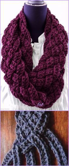 Crochet Braided Scarf Free Patterns - Crochet Easy Woven Scarf Cowl Free Pattern